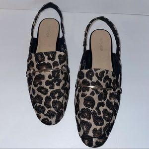 Topshop Lemonade Leopard Print sling back loafers